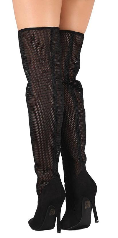 M484 Black Relaxed Mesh Thigh High Stiletto Boot - Wholesale Fashion Shoes