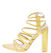 Maddie Gold Hologram Pointed Open Toe Strappy Tall Block Heel - Wholesale Fashion Shoes