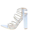 Maddie Hologram Pointed Open Toe Strappy Tall Block Heel - Wholesale Fashion Shoes
