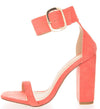 Bibi281 Coral Square Open Toe Ankle Strap Block Heel - Wholesale Fashion Shoes