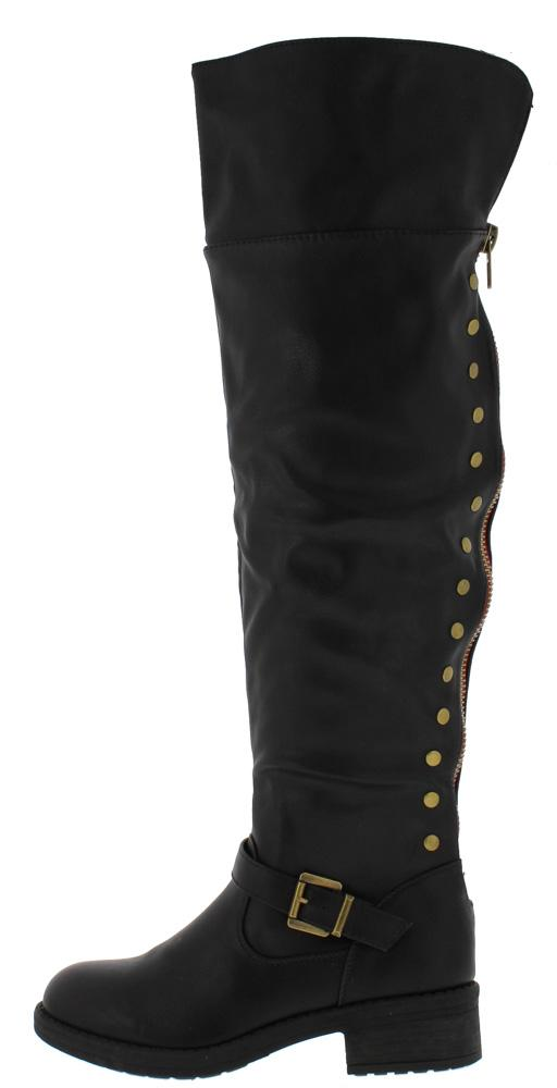 9534a05f57e6 Megen02 Black Over The Knee Studded Chunky Heel Boot - Wholesale Fashion  Shoes