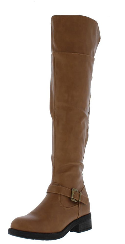 Megen02 Tan Over The Knee Studded Chunky Heel Boot - Wholesale Fashion Shoes