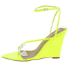 Melanie Lime Pointed Open Toe Ankle Strap Wedge - Wholesale Fashion Shoes