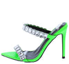 Meteorite Green Pointed Open Toe Dual Rhinestone Strap Heel - Wholesale Fashion Shoes