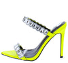 Meteorite Lime Pointed Open Toe Dual Rhinestone Strap Heel - Wholesale Fashion Shoes