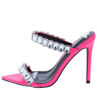 Meteorite Pink Pointed Open Toe Dual Rhinestone Strap Heel - Wholesale Fashion Shoes