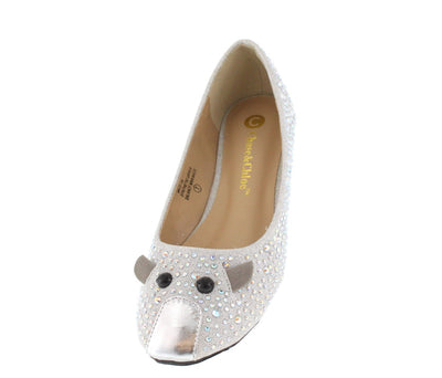 Mice1a Silver Metal Mice Rhinestone Flat - Wholesale Fashion Shoes
