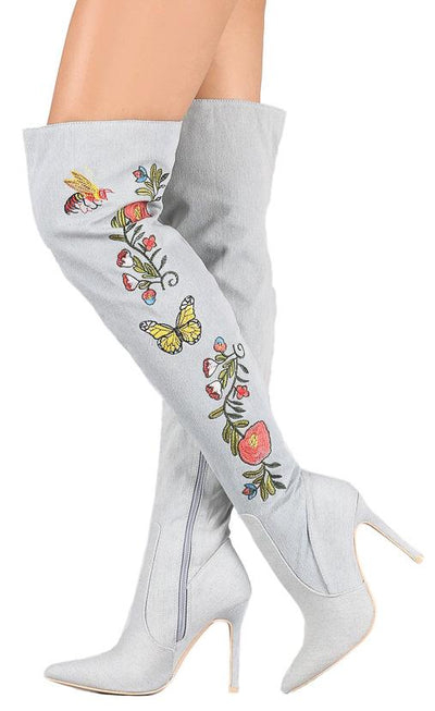 Mini110 Blue Over the Knee Floral Embroidery Boot - Wholesale Fashion Shoes