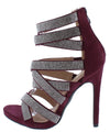 Momo31 Wine Suede Women's Heel - Wholesale Fashion Shoes