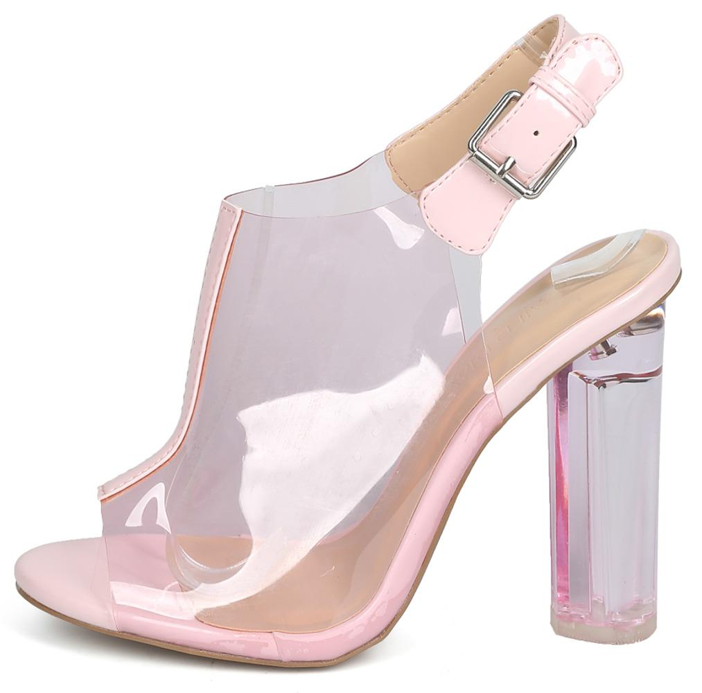 Mono17 Pink Clear Peep Toe Slingback Lucite Block Heel - Wholesale Fashion  Shoes