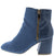 Moody03 Blue Faux Croc Angled Heel Ankle Boot