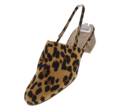 Morocco01 Leopard Almond Toe Slingback Stacked Mule Heel - Wholesale Fashion Shoes