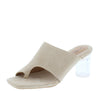 Nani Nude Suede Square Open Toe Lucite Slide Heel - Wholesale Fashion Shoes