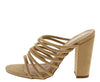 Nena Camel Strappy Open Toe Mule Block Heel - Wholesale Fashion Shoes