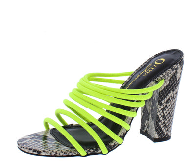 Nena Neon Yellow Strappy Open Toe Mule Block Heel - Wholesale Fashion Shoes