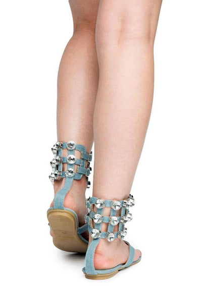 Omh12 Denim Caged Rhinestone Ankle Cuff Thong Sandal - Wholesale Fashion Shoes