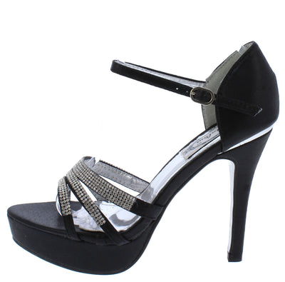 Emily109 Black Rhinestone Strappy Open Toe Ankle Strap Heel - Wholesale Fashion Shoes