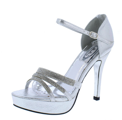 Emily109 Silver Rhinestone Strappy Open Toe Ankle Strap Heel - Wholesale Fashion Shoes