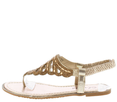 Pk51810 Gold Sparkle Laser Cut Slingback Thong Sandal - Wholesale Fashion Shoes