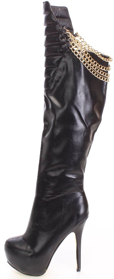 Polly4 Quilted Black Chain Heeld Boot - Wholesale Fashion Shoes