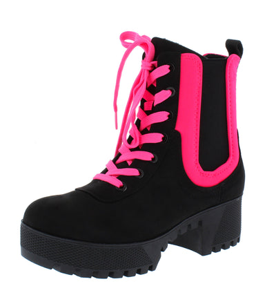 Powerful34 Black Neon Pink Women's Boot - Wholesale Fashion Shoes