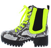 Powerful34 Snake Neon Yellow Women's Boot - Wholesale Fashion Shoes
