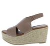 Prema02 Taupe Peep Toe Cut Out Slingback Espadrille Wedge - Wholesale Fashion Shoes