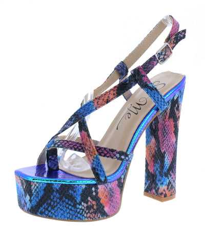Prym Blue Snake Women's Heel - Wholesale Fashion Shoes
