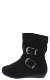 Rachel17k Black Slouchy Side Buckle Kids Ankle Boot - Wholesale Fashion Shoes