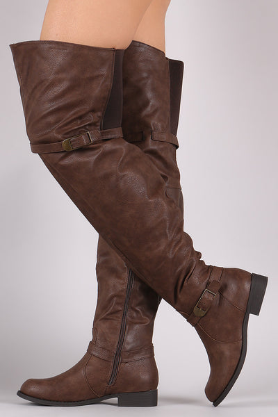 Renee14w Brown Dual Strap Elastic Over the Knee Boot - Wholesale Fashion Shoes