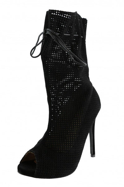 Sarah10 Black Open Toe Extended Shaft Perforated Stiletto Heel Ankle Boot - Wholesale Fashion Shoes