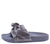 Sandy03 Grey Knotted Open Toe Mule Slide Sandal