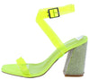 Sane Lime Lucite Open Toe Ankle Strap Rhinestone Heel - Wholesale Fashion Shoes