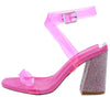 Sane Pink Lucite Open Toe Ankle Strap Rhinestone Heel - Wholesale Fashion Shoes