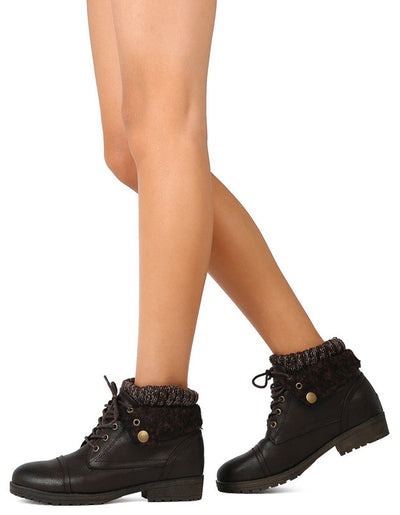 School16 Brown Sweater Lace Up Lug Sole Ankle Boot - Wholesale Fashion Shoes