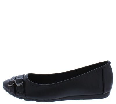 Serious01w Black Dual Buckle Wide Width Ballet Flat - Wholesale Fashion Shoes