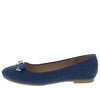 Camila165 Blue Denim Metallic double bow Slide On Ballet Flat - Wholesale Fashion Shoes