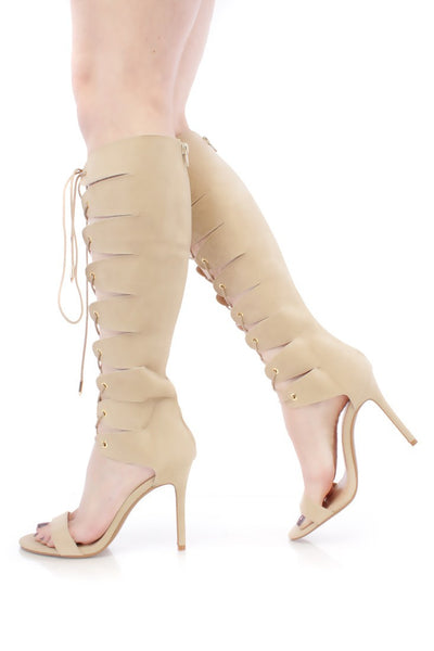 Shade Camel Open Toe Lace Up Boot - Wholesale Fashion Shoes
