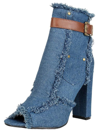 Sherry10 Light Blue Denim Frayed Ankle Studded Pocket Boot - Wholesale Fashion Shoes