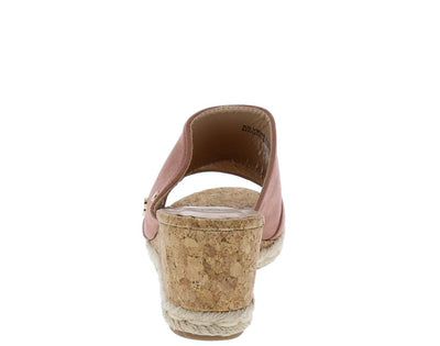 Silverstone Mauve Suede Studded Braided Cork Mule Wedge - Wholesale Fashion Shoes