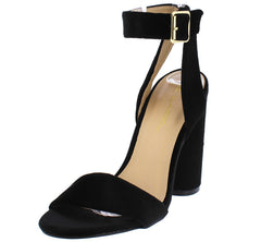 SORBET3 BLACK VELVET OPEN TOE ROUND CHUNKY HEEL - Wholesale Fashion Shoes