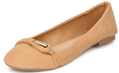 Sparks05 Toffee Almond Toe Single Gold Loop Ballet Flat - Wholesale Fashion Shoes