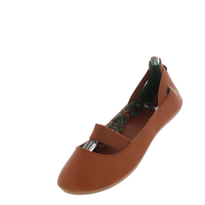 Standouts16a Chestnut Elastic Flat - Wholesale Fashion Shoes