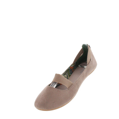 Standouts16a Nude Faux Suede Elastic Flat - Wholesale Fashion Shoes