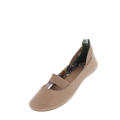 Standouts16a Nude Patent Pu Elastic Flat - Wholesale Fashion Shoes
