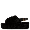 Kathy179 Black Faux Fur Slingback Platform Mule Wedge - Wholesale Fashion Shoes