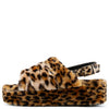 Kathy179 Leopard Faux Fur Slingback Platform Mule Wedge - Wholesale Fashion Shoes