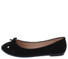 Supple24 Black Top Bow Round Toe Ballet Flat - Wholesale Fashion Shoes