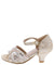 Susan01 Champagne Sheer Sparkle Peep Toe Kids Low Heel