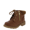 Timber171km Camel Sweater Cuff Lace Up Kids Boot - Wholesale Fashion Shoes